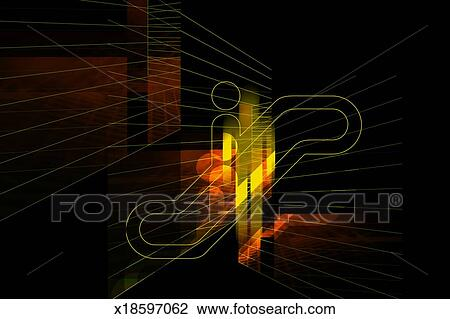 drawing - yellow man symbol on black abstract  fotosearch