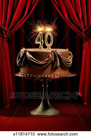 Birthday Cake On Stage With Number 40 Candles