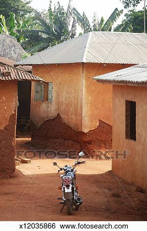 West african village  near Ouidah, Benin  Stock Photograph
