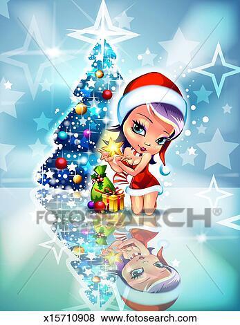 Anime Elf Beside Christmas Tree Stock Photo