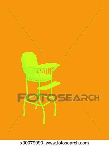 Retro Baby High Chair Clipart