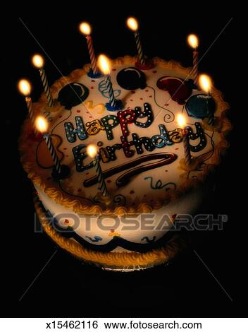Birthday Cake With Candles Stock Photograph