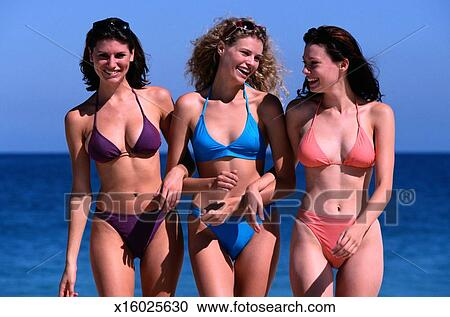 Portrait Of Three Women In S At The Beach