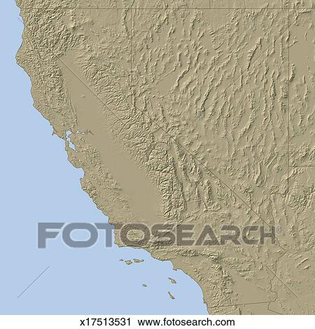 California Relief Map on