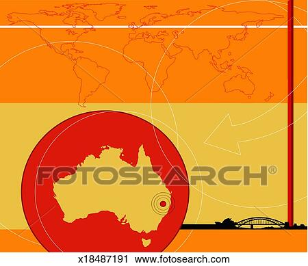 Stock Photography Of Map Of Australia World Map And Sydney Harbour