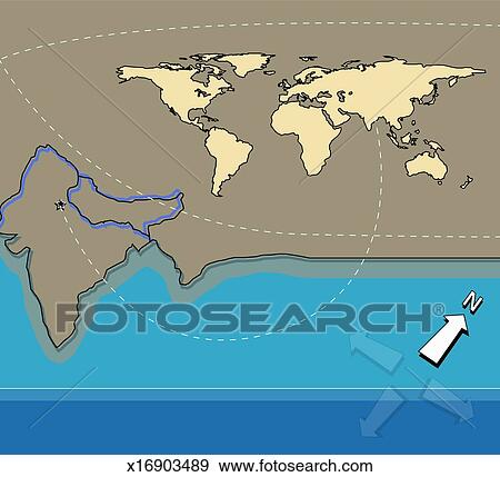 Stock photograph of outline map of india line connecting delhi to outline map of india line connecting delhi to world map gumiabroncs Image collections