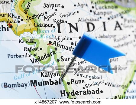 Picture Of Map Pin Placed In Mumbai India On Map Close Up