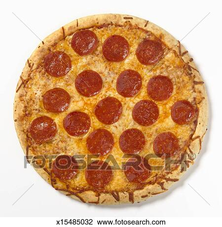 stock photo of pepperoni pizza overhead view x15485032 search rh fotosearch com Cheese Pizza Clip Art Pizza Clip Art