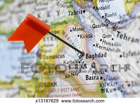 Stock Photograph of Map pin placed in Baghdad, Iraq on map, close-up ...