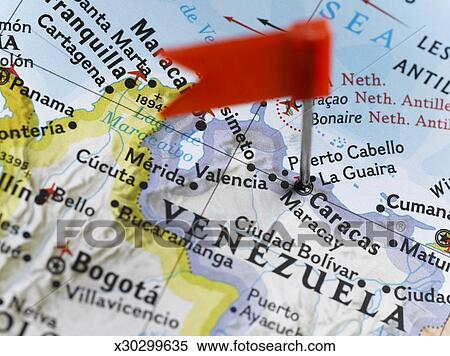 Stock Image of Map pin placed in Caracas Venezuela on map closeup