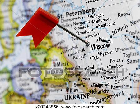 Map pin placed in Moscow, Russia on map, close-up Stock Photograph ...