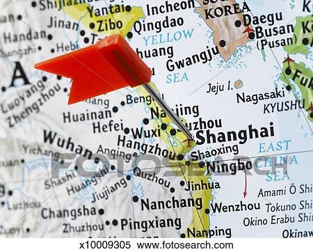 Map pin placed in Shanghai, China on map, close-up Stock Photography ...