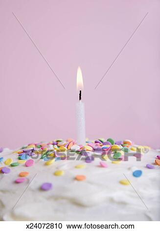Birthday Cake With Sprinkles And One Lit Candle