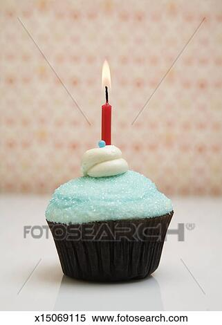 stock image of cupcake with lit birthday candle x15069115 search