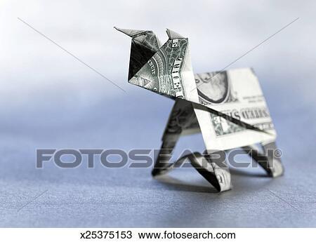 Origami Bull Made From Dollar Bill Close Up