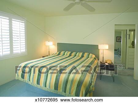 Vert, chambre à coucher, intérieur vitrine maison Banques de Photographies