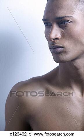 Seitenansicht, von, a, nackter mann Stock Fotografie
