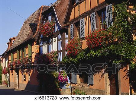 Cool Timber Framed Houses In Niedermorschwihr Alsace France Stock Photo Beutiful Home Inspiration Papxelindsey Bellcom