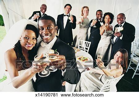 Stock Photography Of Group Of People Toast A Bride And Groom At A
