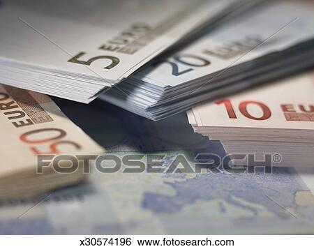 Euro Currency Stacks Of 5 10 20 And 50 Notes Piled Together