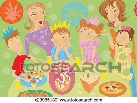 子供 そして 女性 において A 子供 第3 誕生日パーティー