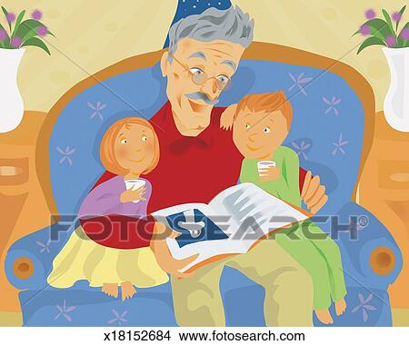 Nonno In Poltrona.Nonno Seduta Su Un Poltrona E Lettura Notte A Suo Nipoti Archivio Illustrazioni