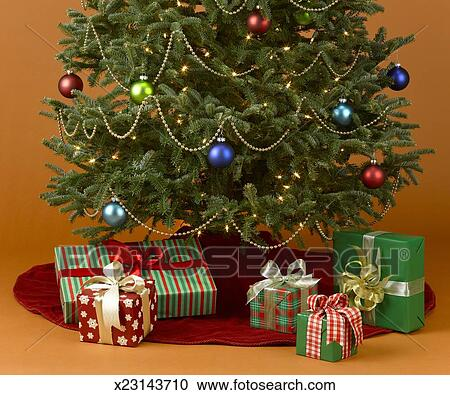 Stock Photography Of Christmas Tree With Presents Underneath
