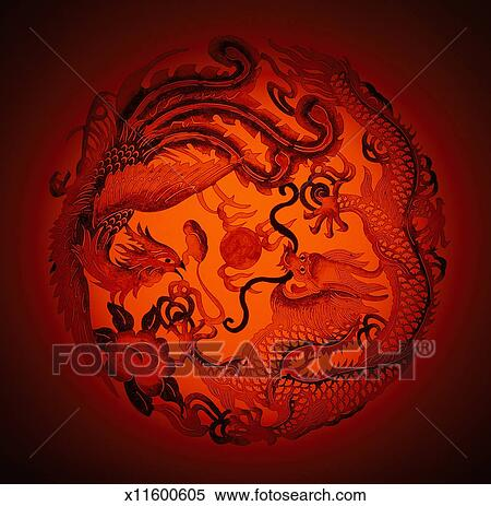 Dragon and phoenix stencil on red background Stock Photography
