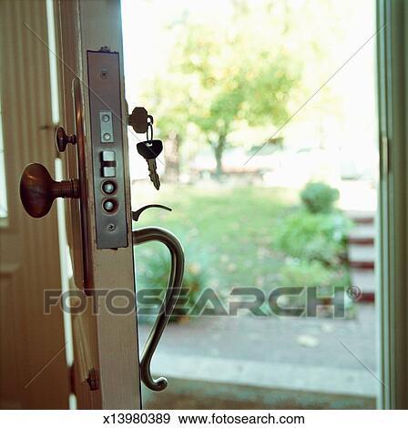 Open front door Rough Open Front Door Of House Key In Keyhole Barangimportinfo Stock Photograph Of Open Front Door Of House Key In Keyhole