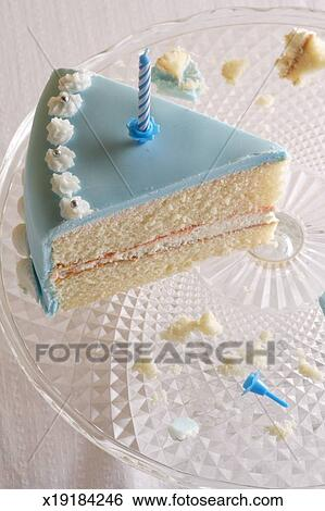 Enjoyable Birthday Cake Slice On Glass Serving Dish Stock Photograph Personalised Birthday Cards Akebfashionlily Jamesorg