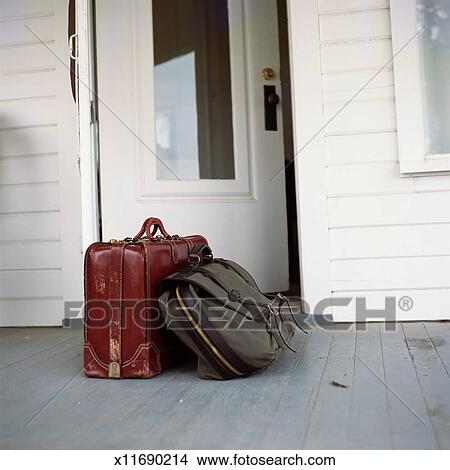 Stock Photo - Suitcase and satchel on porch. Fotosearch - Search Stock Images, Mural Photographs, Pictures, and Clipart Photos