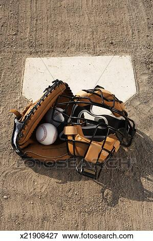 Picture Of Baseballs And Catchers Mask And Glove At Home Plate