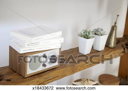 Houten Planken Aan De Muur.Potted Planten Klein Radio En Boekjes Op Natuurlijke Houten Planken Tegen Witte Muur Stock Afbeelding