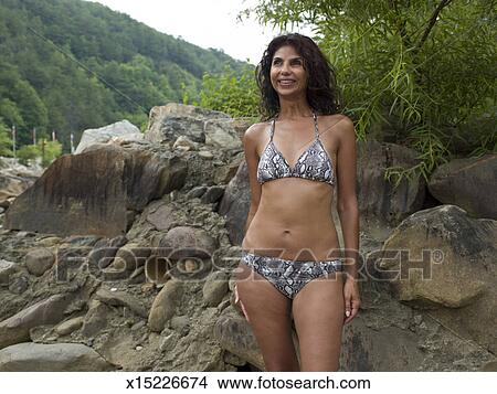 Mature woman in bikini