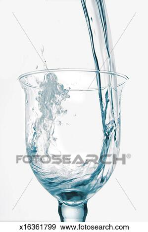 stock photograph of water pouring into glass x16361799 search