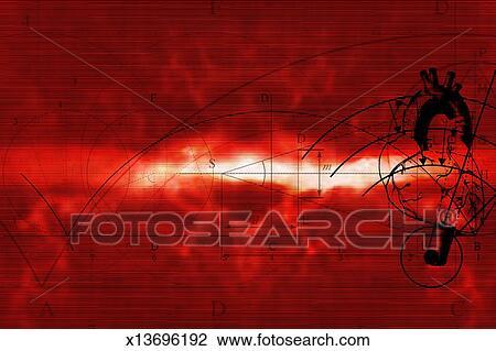 Nero Linee Sopra Sfondo Rosso Disegno X13696192 Fotosearch