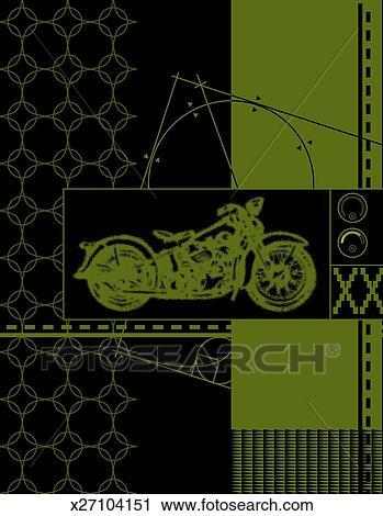 Motocicletta Su Verde E Sfondo Nero Clip Art X27104151