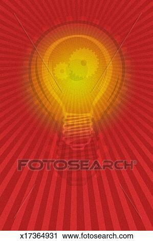 Bright Lightbulb With Gears Inside