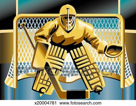 Clipart hockey gardien de but debout devant filet - Gardien de but dessin ...