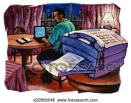 stock illustration of man in hotel room using laptop computer fax