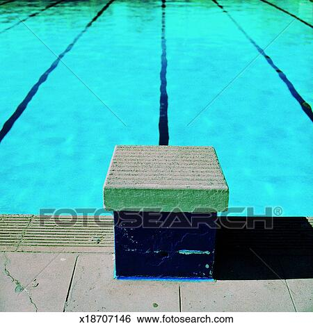 Starting block at a swimming pool Stock Photograph ...