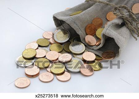 Money Bag of Coins Stock Photo