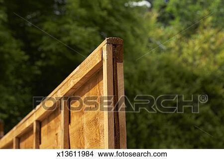Stock Foto Kleingarten Eigenschaft Grenze Teilen Zaun Tafel