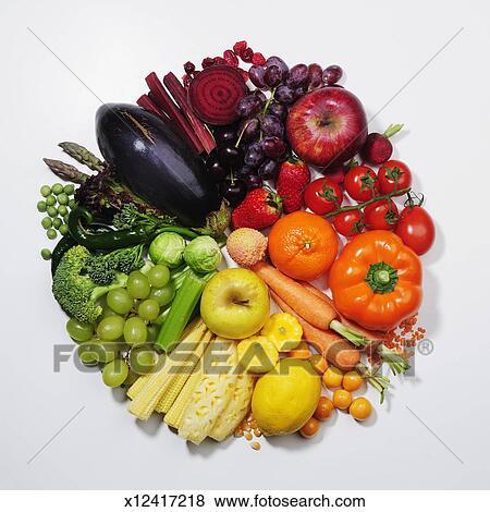 Pictures Of Fruit Vegetables Pie Chart Colour Wheel X12417218
