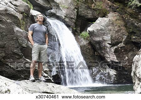 Man Standing A Edge Of Waterfall