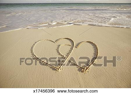2 Hearts Drawn On The Beach