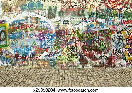 Stock Photo of Graffiti along \