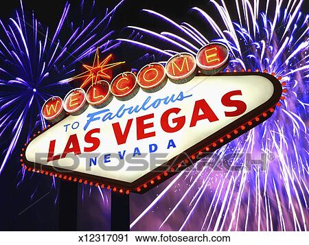 las vegas welcome sign fireworks in background