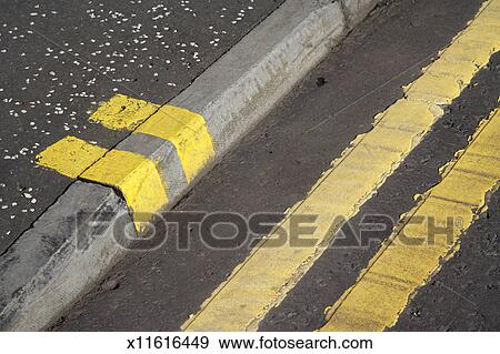stock photograph of double yellow lines on a road and pavement curb x11616449 search stock. Black Bedroom Furniture Sets. Home Design Ideas