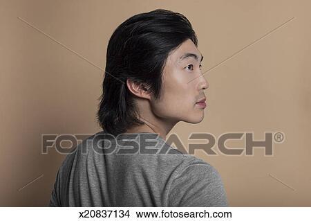 784d32e8f16e89 Banque de Photo - portrait, de, jeune, homme asiatique, profil ...